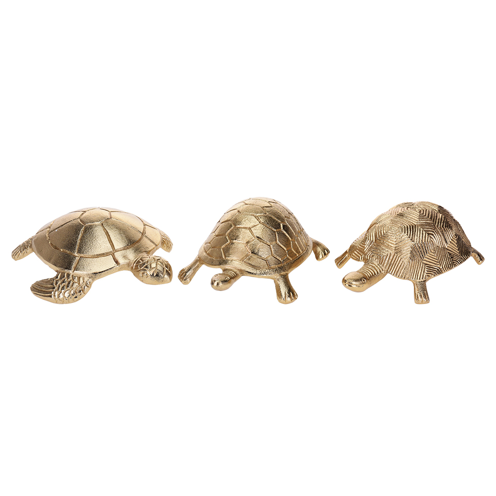 Golden Turtle Ornaments Trio