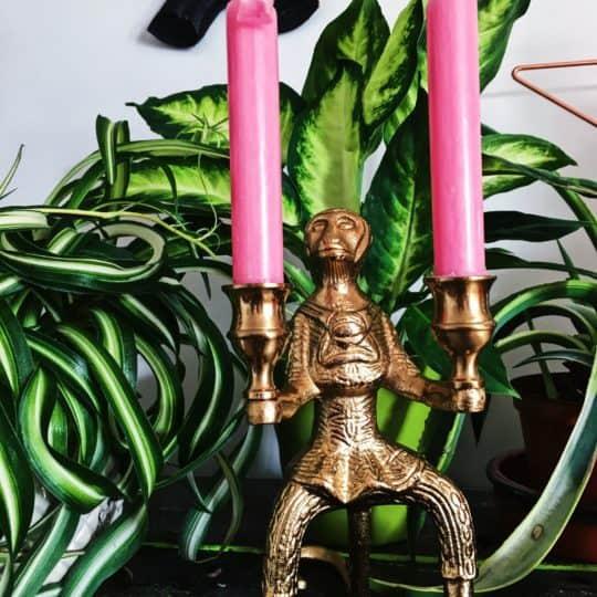 Gold Monkey Candle Stick Holder